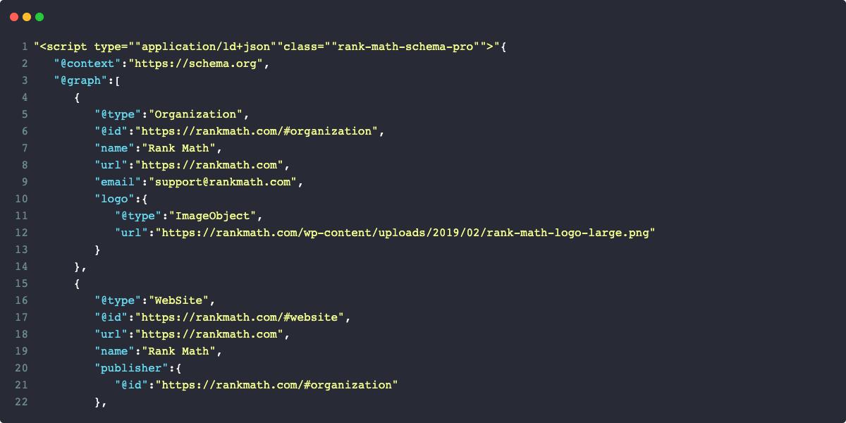 Rank Math Schema Markup Code